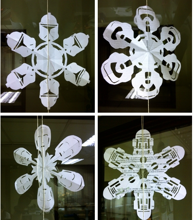 Crafted out Star Wars-inspired snowflakes. Found these wonderful patterns on the internet. They were lovely.